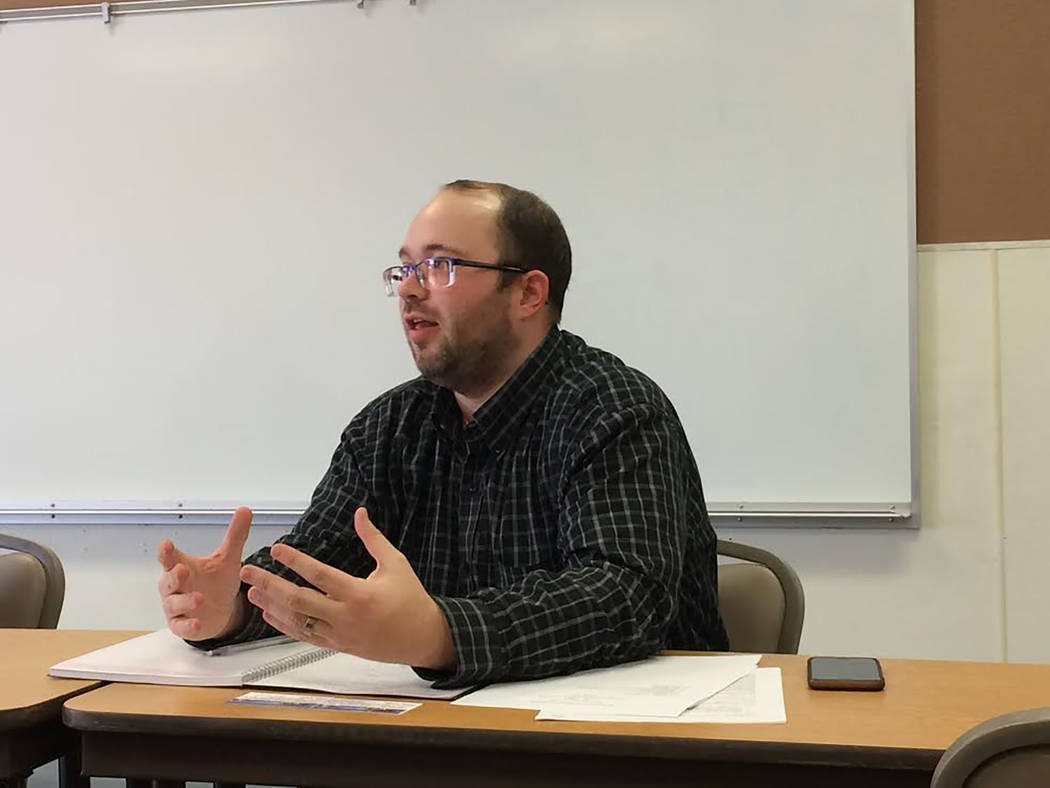 Robin Hebrock/Pahrump Valley Times Community Transportation Association of America representative Rich Sampson is helping in the effort to determine the final details of the Pahrump Valley Public  ...
