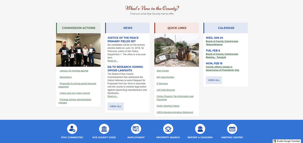 Screenshot The redesign of the Nye County government website has been a long time in coming and is anticipated to increase access to information pertinent to county residents.