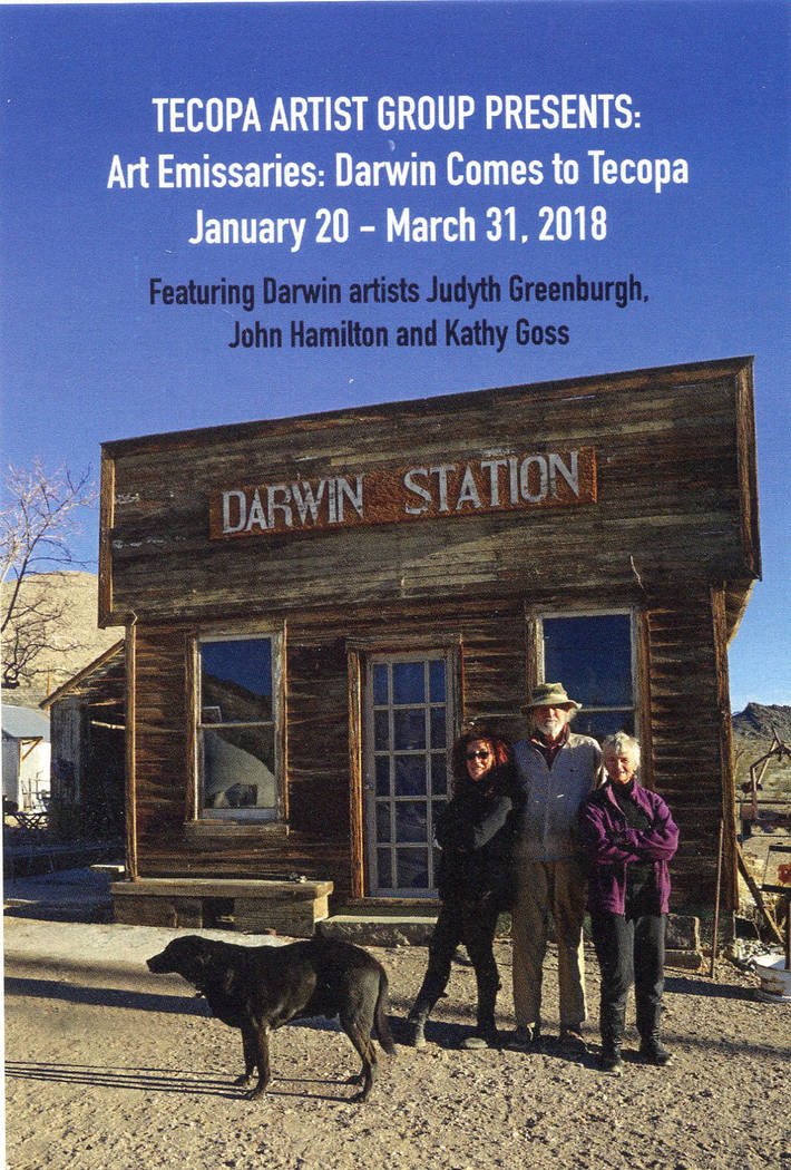 "Courtesy of Amy Noel A look at the promotional flyer for the Darwin Emissaries show. ""Art Emissaries: Darwin Comes to Tecopa continues through March."