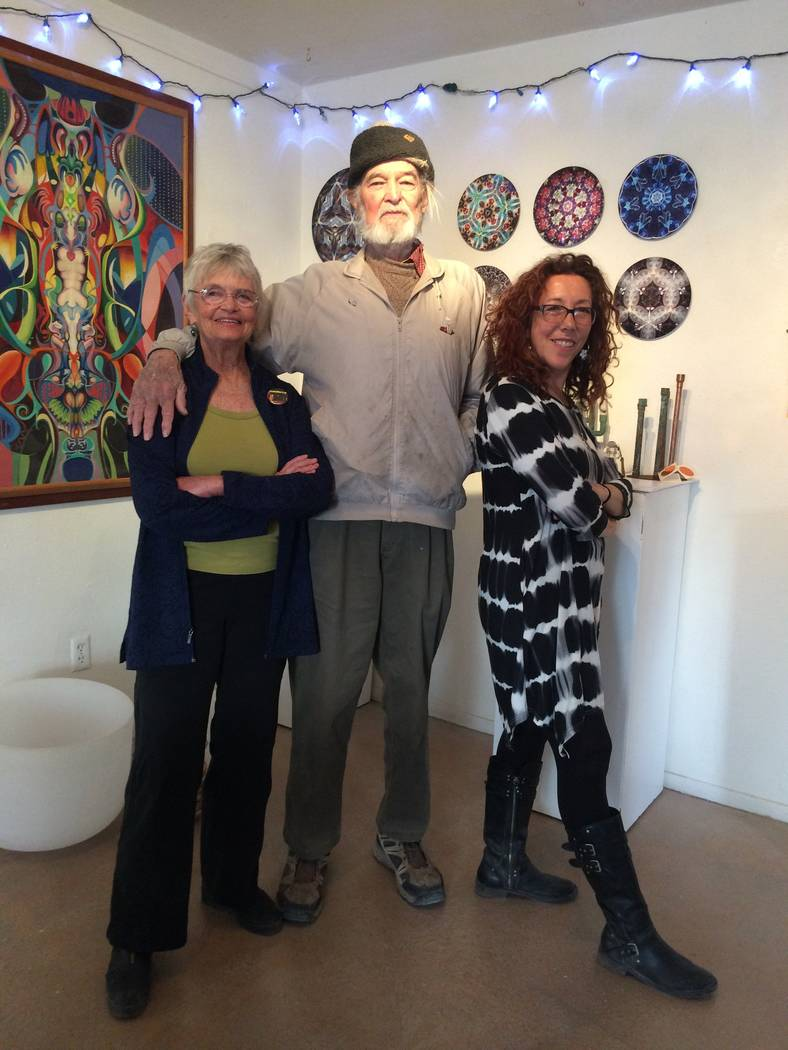 Amy Noel /Special to the Pahrump Valley Times Kathy Goss, left, John Hamilton, center, and Judyth Greenburgh, right, at the Tecopa Artist Group Gallery on January 20, 2018.