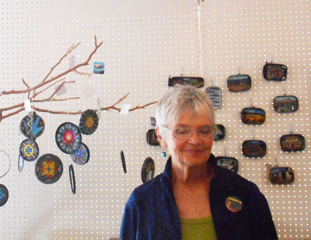 Robin Flinchum/Special to the Pahrump Valley Times Artist and author Kathy Goss is shown at the opening of the Darwin Art Emissaries show in Tecopa. The Tecopa/Shoshone arts weekend is planned for ...