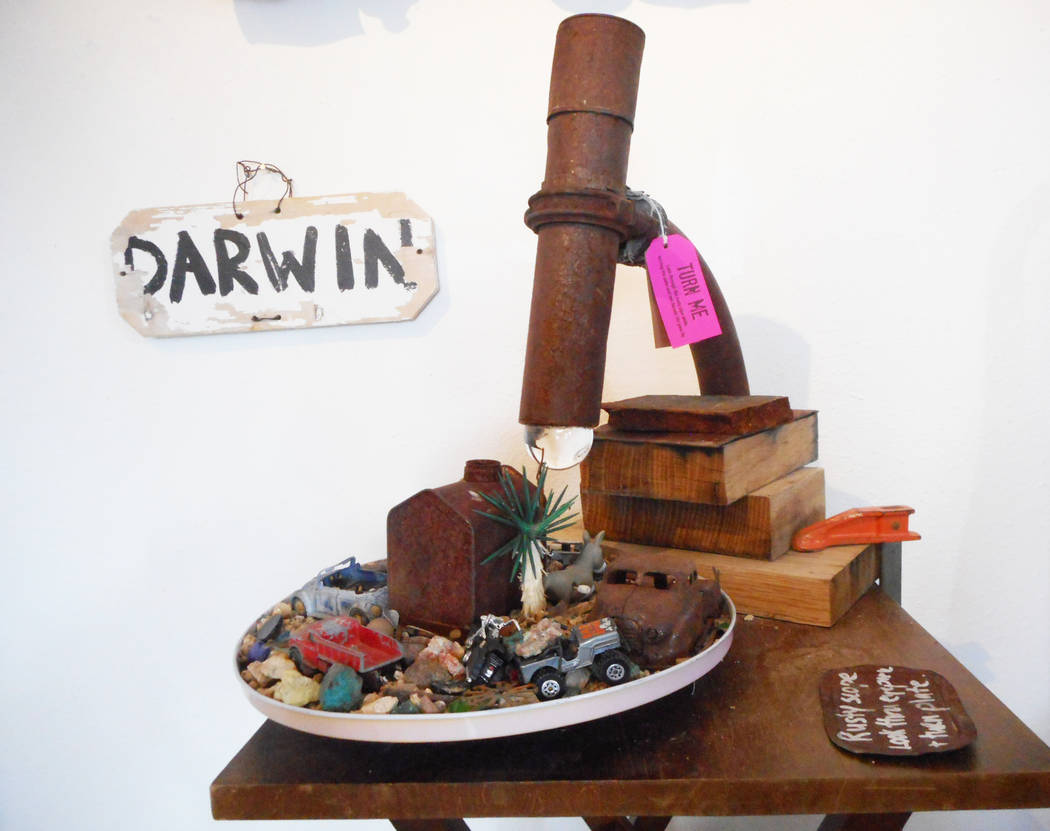 Robin Flinchum/Special to the Pahrump Valley Times The Rustyscope, a working diorama/kaleidoscope by Judyth Greenburgh at the Darwin Art show in Tecopa. Multiple art-related works are available fo ...