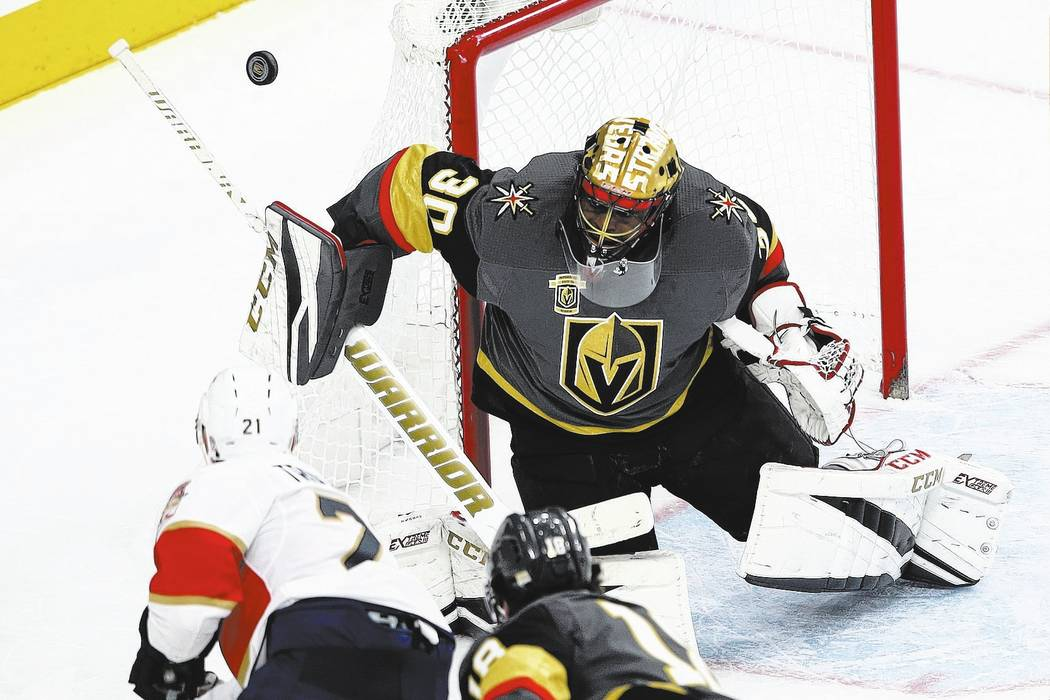 Chase Stevens/Las Vegas Review-Journal Las Vegas Golden Knights goalie Malcolm Subban (30) defends against the Florida Panthers during an NHL hockey game earlier this season.