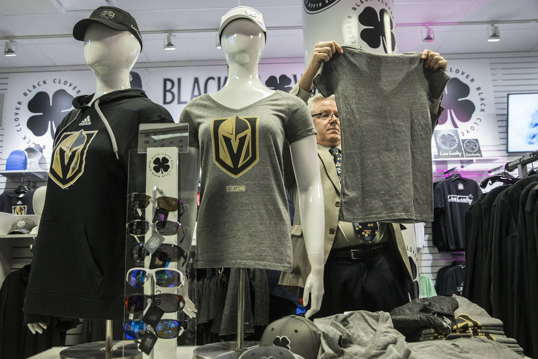 Benjamin Hager/Las Vegas Review-Journal  Fans purchase official Golden Knights merchandise at the conclusion of a ceremony to unveil the Las Vegas' NHL expansion franchise's official team nickname ...