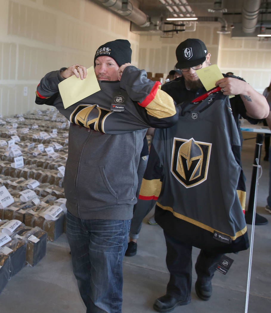 Bizuayehu Tesfaye Las Vegas Review-Journal A season ticketholder tries on his new Golden Knights jersey last fall in Las Vegas. The Army filed paperwork this month with the U.S. Patent and Tradema ...