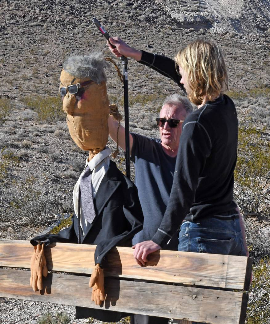 Richard Stephens/Special to the Pahrump Valley Times A look at work on the installation. Dutch artist Onny Huisink and his carpenter, Koen Broersen, enjoyed their brief sojourn to the Nevada desert.