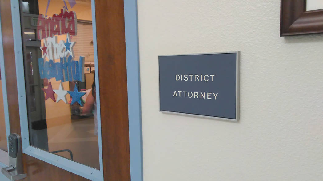 Selwyn Harris/Pahrump Valley Times A look at a sign for the Nye County District Attorney's Office as shown in a photo taken in May.