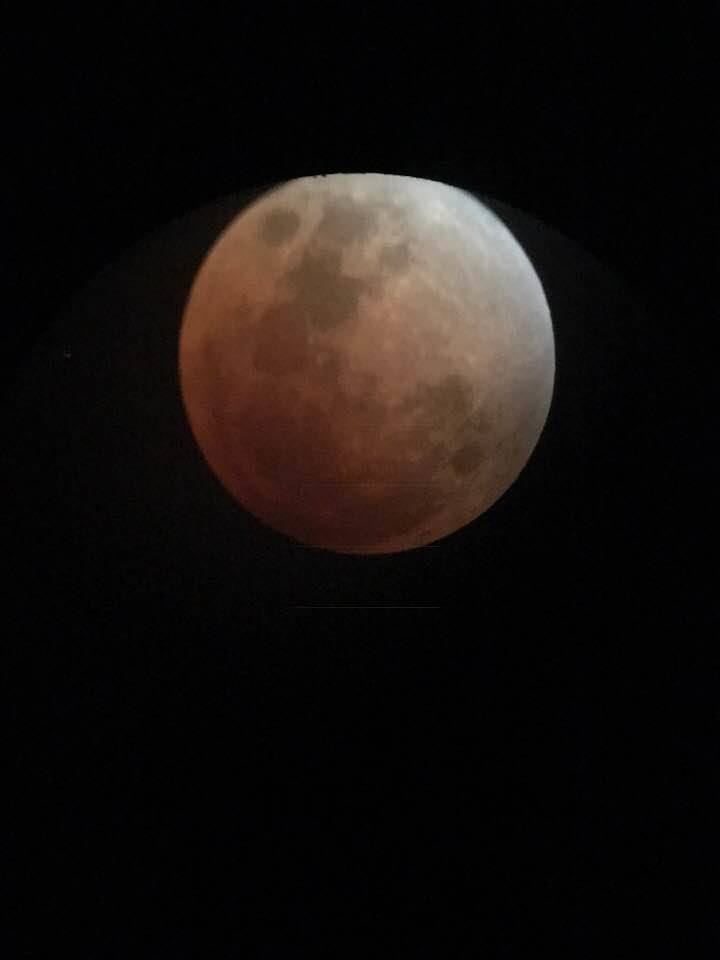 Pearl Lowell/Special to the Pahrump Valley Times Thunar eclipse captured from an Orion telescope from a local Pahrump resident on Wednesday. The reddish-orange moon was out around 5 a.m. in the Pa ...