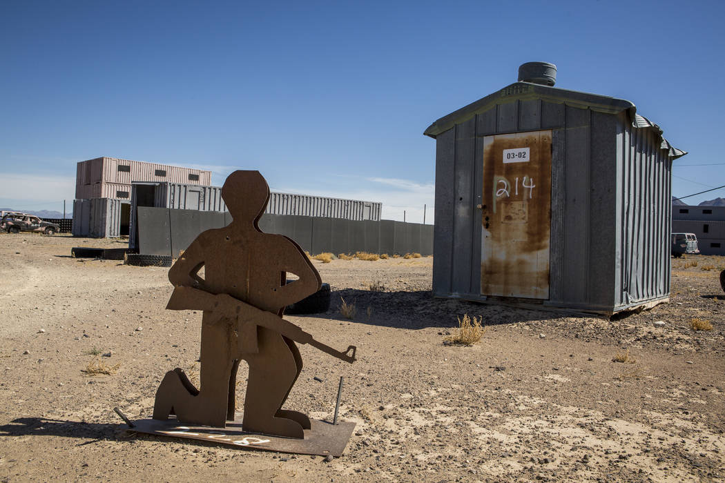 "Patrick Connolly/Las Vegas Review-Journal A metal target waits for action in ""Gotham City,"" an urban warfare facility at the Nevada Test and Training Range, on Sunday, May 21, 2017."