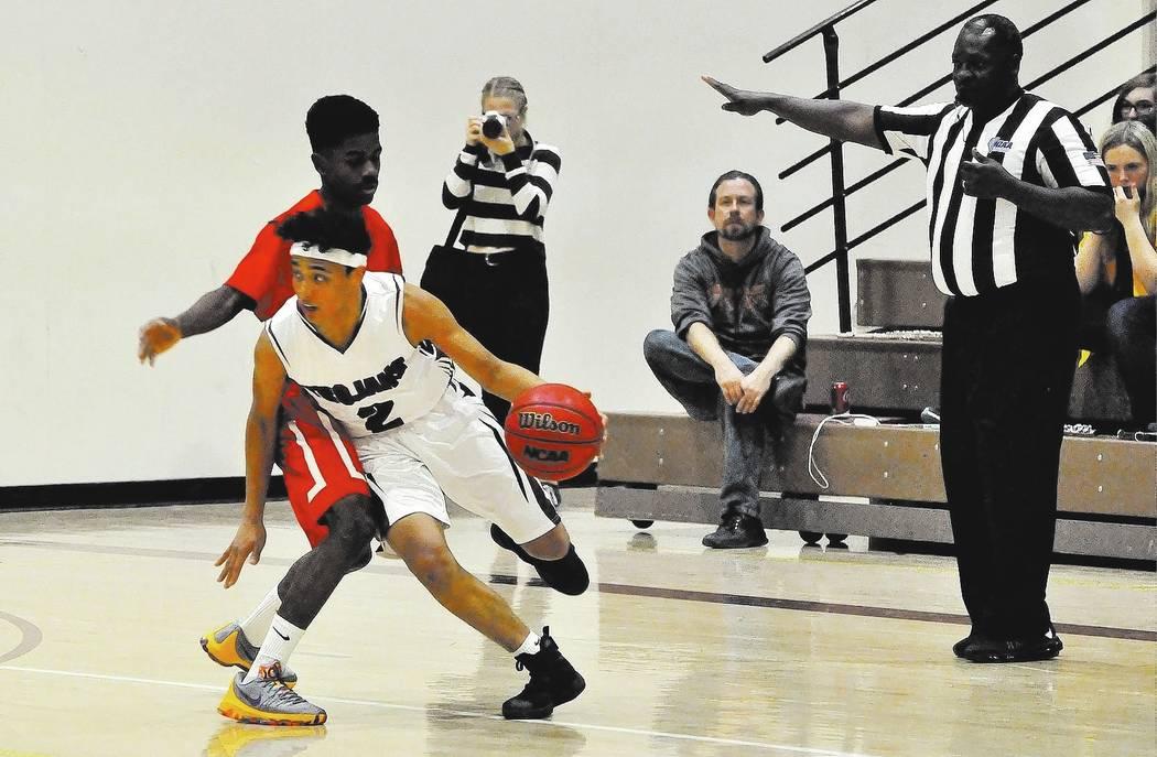 Horace Langford Jr. / Pahrump Valley Times - PVHS Boys Basketball vs Tech, #2 Antonio Fortin.