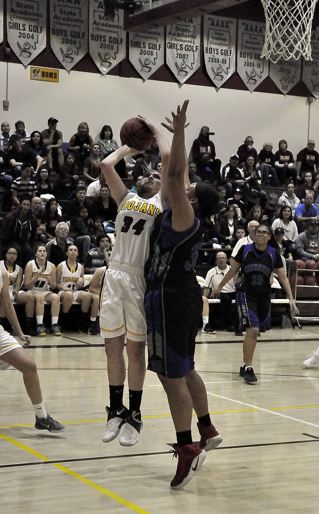 Horace Langford Jr./Pahrump Valley Times  Kylie Stritenberger had a game-high 16 points for Pahrump Valley in the Wednesday night game at Mojave.  She is shown here preparing to shoot the ball ear ...