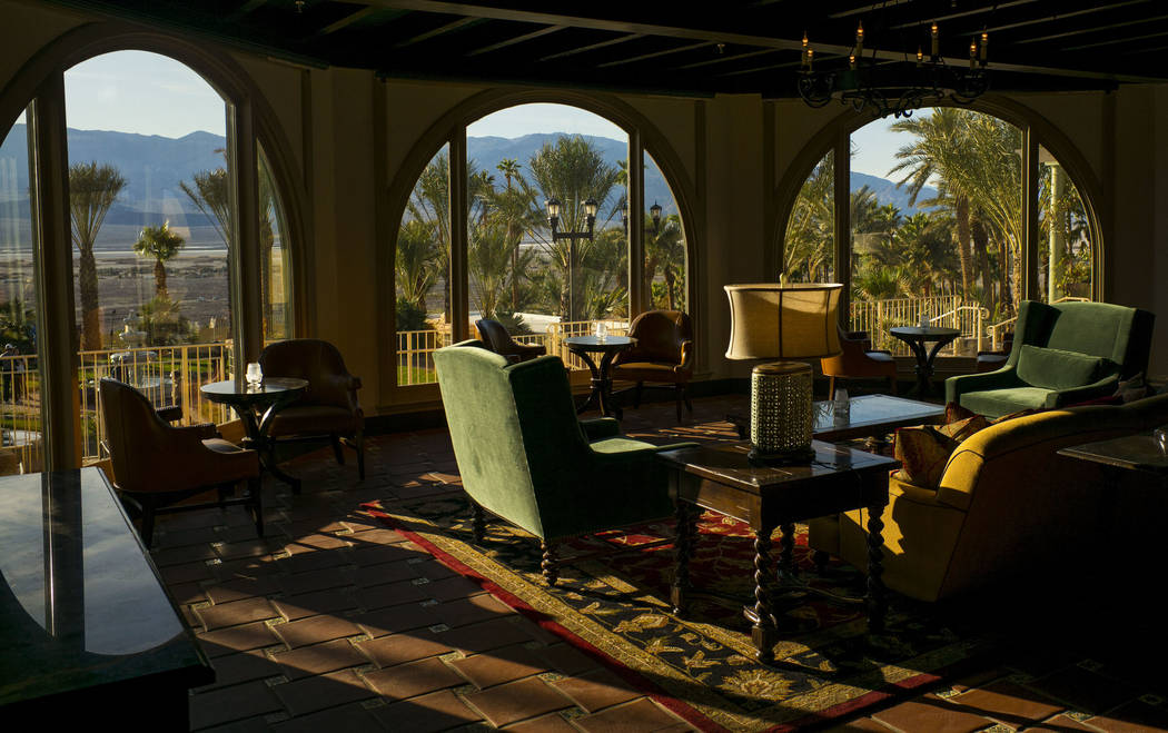 Seating with a view near the bar area during a tour of The Inn at Death Valley in Death Valley National Park, Calif, on Tuesday, Jan. 23, 2018. The Inn, formerly the Furnace Creek Inn prior to ren ...