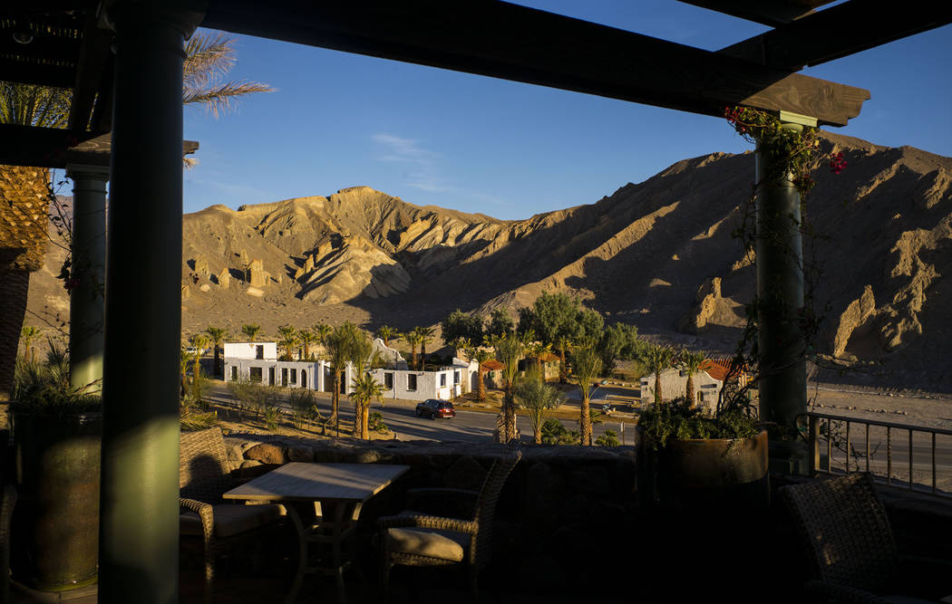 A view of the Mission Gardens event venue as seen from a dining terrace during a tour of The Inn at Death Valley in Death Valley National Park, Calif, on Tuesday, Jan. 23, 2018. The Inn, formerly  ...