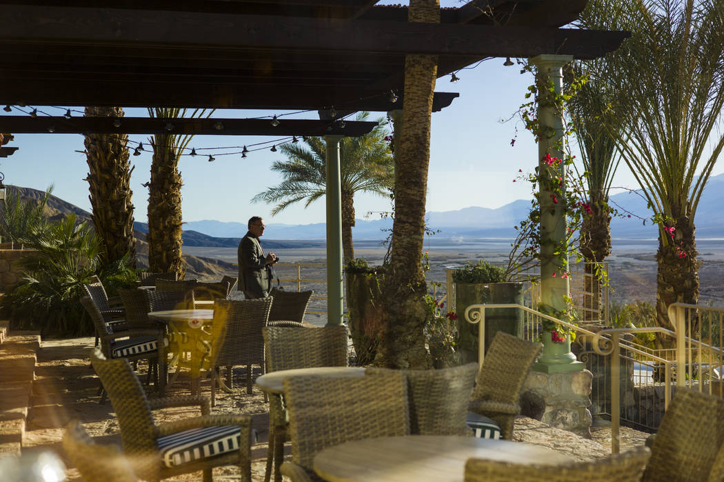 A terrace off the bar and restaurant area during a tour of The Inn at Death Valley in Death Valley National Park, Calif, on Tuesday, Jan. 23, 2018. The Inn, formerly the Furnace Creek Inn prior to ...