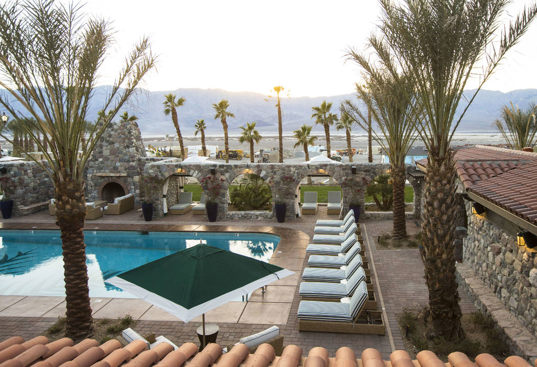 A spring-fed pool that maintains an 85 degree temperature is one of many draws for guests at The Inn at Death Valley in Death Valley National Park, Calif, on Tuesday, Jan. 23, 2018. The Inn, forme ...