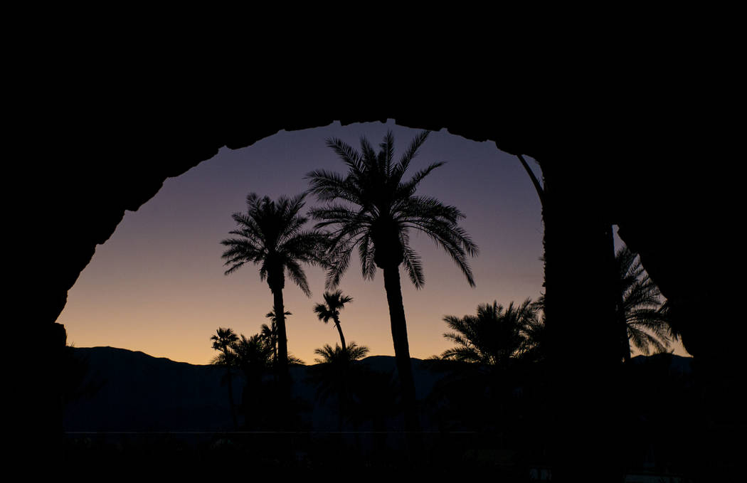 Palm trees at The Inn at Death Valley in Death Valley National Park, Calif, on Tuesday, Jan. 23, 2018. The Inn, formerly the Furnace Creek Inn prior to renovations, is slated to reopen Feb. 1. Cha ...