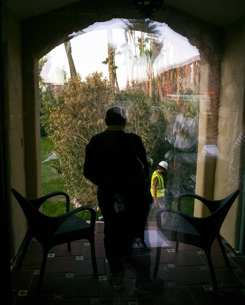 Looking out from the spa during a tour of The Inn at Death Valley in Death Valley National Park, Calif, on Tuesday, Jan. 23, 2018. The Inn, formerly the Furnace Creek Inn prior to renovations, is  ...