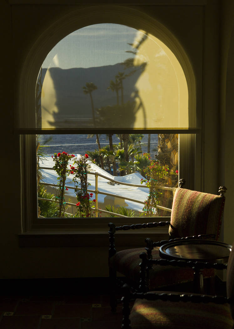 A view from the lobby during a tour of The Inn at Death Valley in Death Valley National Park, Calif, on Tuesday, Jan. 23, 2018. The Inn, formerly the Furnace Creek Inn prior to renovations, is sla ...