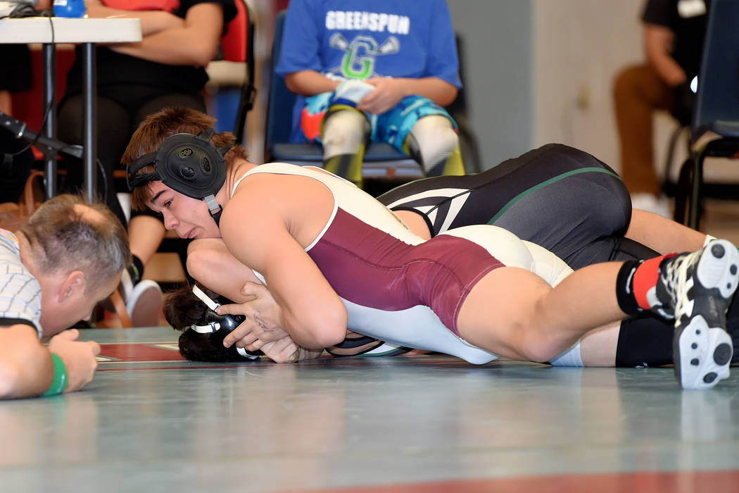 Peter Davis/Special to the Pahrump Valley Times Braylan Durazo, at 160 pounds, helped lead the way for the Pahrump Valley Trojans at the regional wrestling championships. He advances to the state  ...
