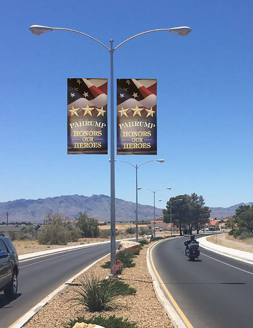 Special to the Pahrump Valley Times This rendering gives residents an idea of what banners hanging along the Calvada Eye will look like. However, the images featured on the banners will be those o ...