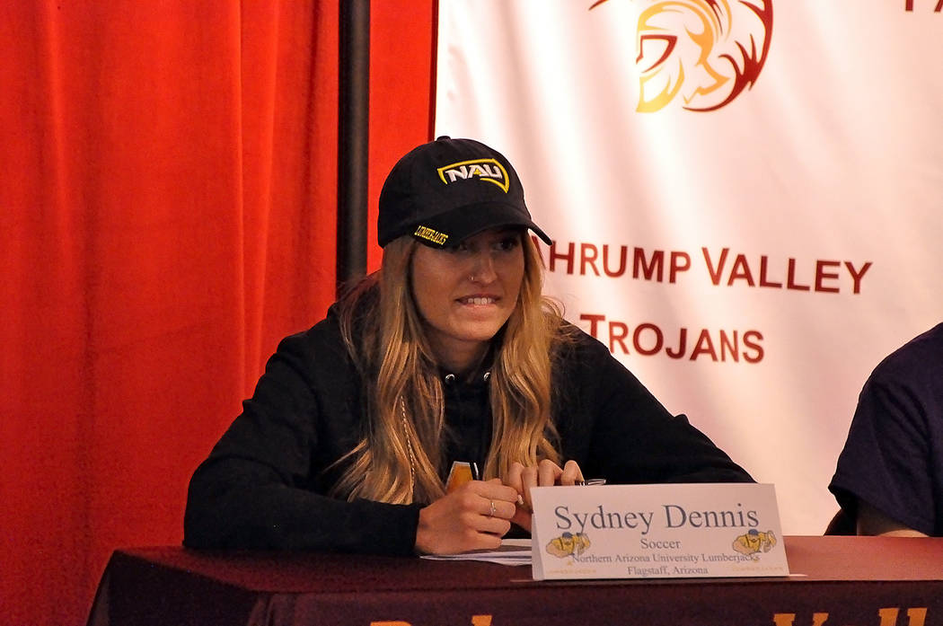 Horace Langford Jr./Pahrump Valley Times Pahrump Valley High School soccer player Sydney Dennis signed a National Letter of Intent on Wednesday to continue her academic and athletic career at Nort ...