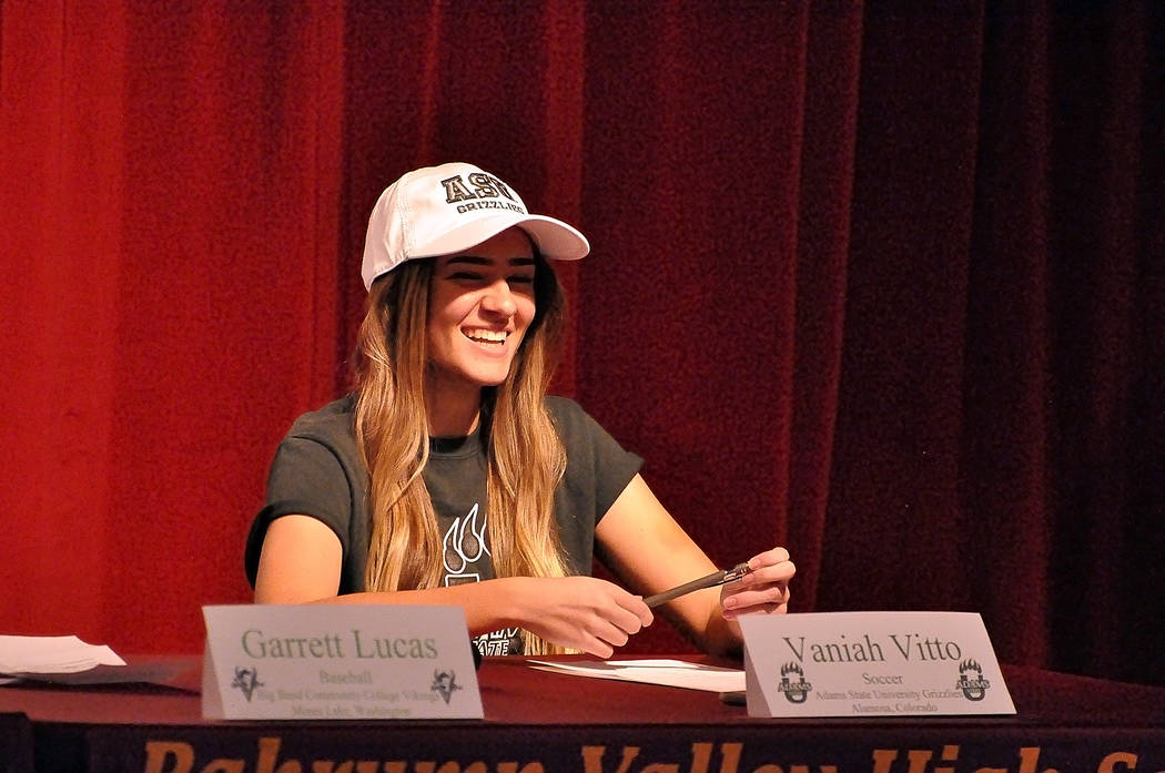 Horace Langford Jr./Pahrump Valley Times Vaniah Vitto of Pahrump Valley High School was one of four student-athletes who made their college decision official Wednesday in the school auditorium. Vi ...