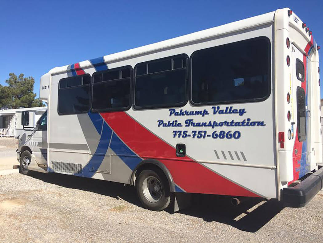 Robin Hebrock/Pahrump Valley Times The Pahrump Valley Public Transportation bus shown has recently been branded with the transit service's name and number, allowing residents to easily identify it ...