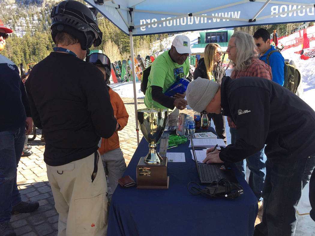 Special to Pahrump Valley Times Ninety-five skiers and snowboarders hit the slopes at Lee Canyon for the Ruby Cup. The special event helped to raise more than $2,000 for the Nevada Donor Network.