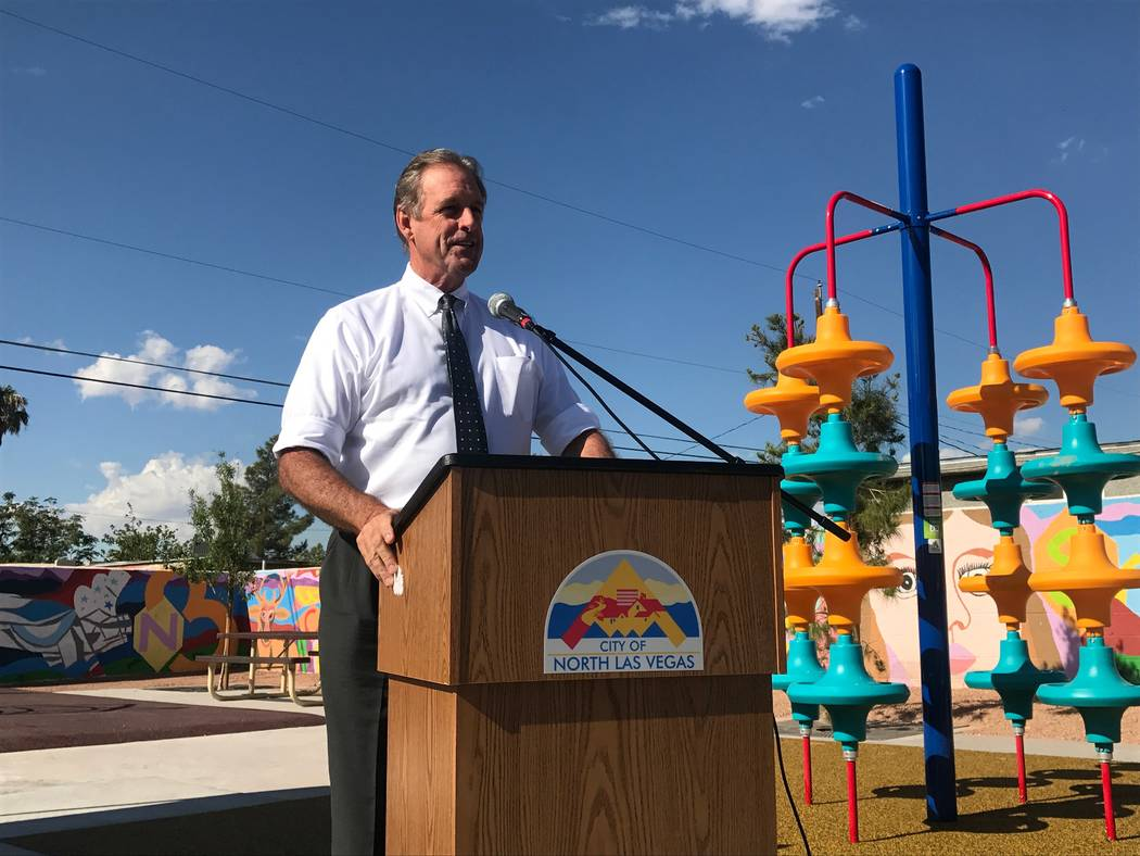 Mayor John Lee at ribbon cutting for the newly renovated Brooks Tot Lot mini park on August 23, 2017 at 1421 E. Brooks Ave. (Kailyn Brown/View) @KailynHype