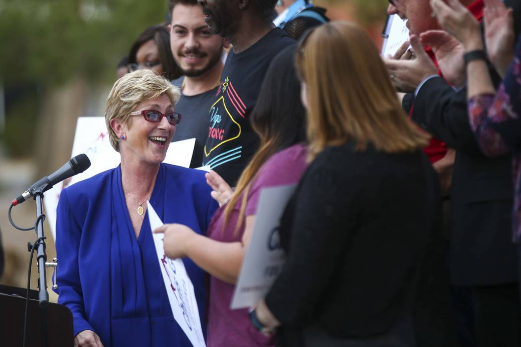 Clark County Commissioner Chris Giunchigliani announces her campaign for governor outside of Las Vegas Academy in downtown Las Vegas on Wednesday, Oct. 18, 2017. (Chase Stevens Las Vegas Review-Jo ...
