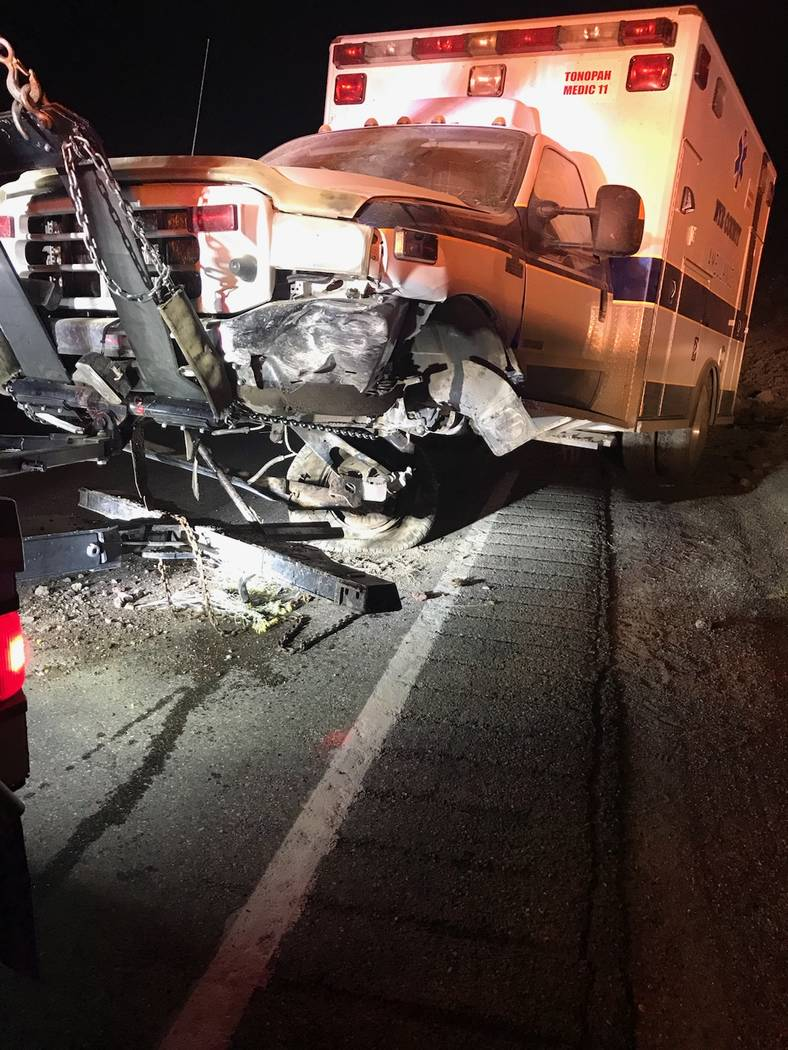 Special to the Pahrump Valley Times A three-person crew on Tonopah Medic 11 transported a patient from a motor vehicle crash to Northern Inyo Hospital in Bishop on Oct. 1, 2017. On the return trip ...
