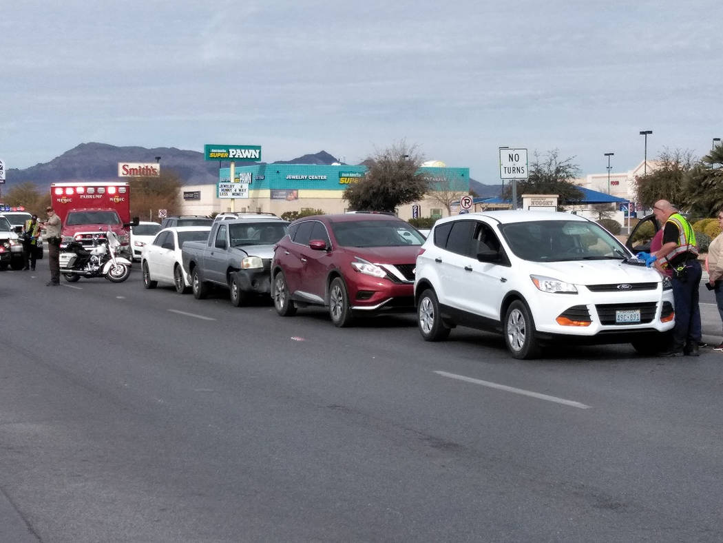 Special to the Pahrump Valley Times A four-vehicle crash along Highway 160, near Highway 372 snarled traffic for more than an hour on Thursday, Feb. 1. Pahrump fire crews tended to the injured, bu ...
