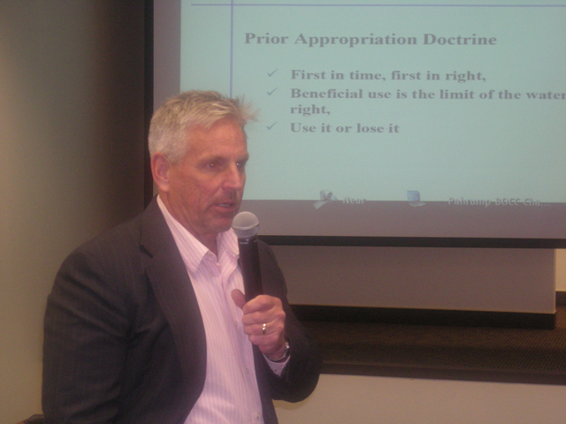Pahrump Valley Times file State Engineer Jason King speaks in Pahrump as shown in this 2014 file photo.