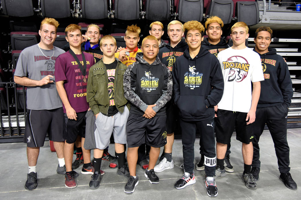 Peter Davis/Special to Pahrump Valley Times Thirteen Pahrump Valley wrestlers competed Friday at the state Class 3A championships at Orleans Arena in Las Vegas. Pictured from left, Jeremy Albertso ...