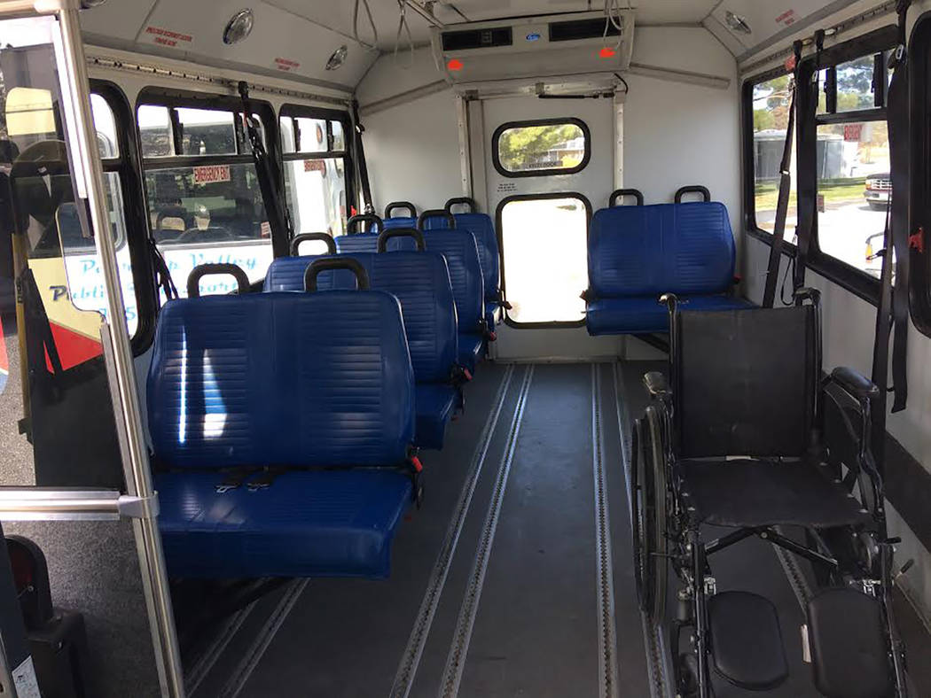 Robin Hebrock/Pahrump Valley Times The interior of a Pahrump Valley Public Transportation bus is shown. The buses are configurable for sitting, standing and disabled riders.