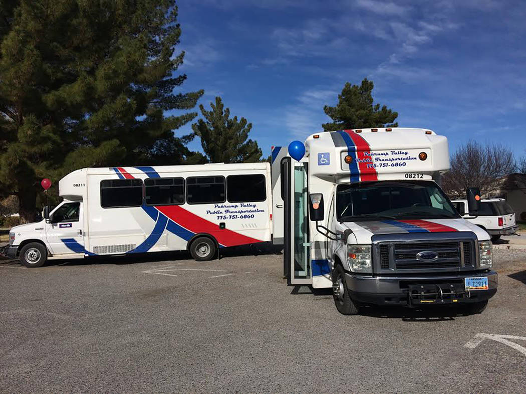 Robin Hebrock/Pahrump Valley Times The north and south buses for the Pahrump Valley Public Transportation service were on display during a public meeting and fundraiser held Feb. 10. The buses wil ...