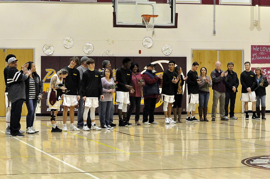 Horace Langford Jr./Pahrump Valley Times Pahrump Valley basketball players, from left, Cory Bergan, Dylan Coffman, Antonio Fortin, Bryce Odegard, David Roundy, Danny Washum, Ethan Whittle, Devon'T ...