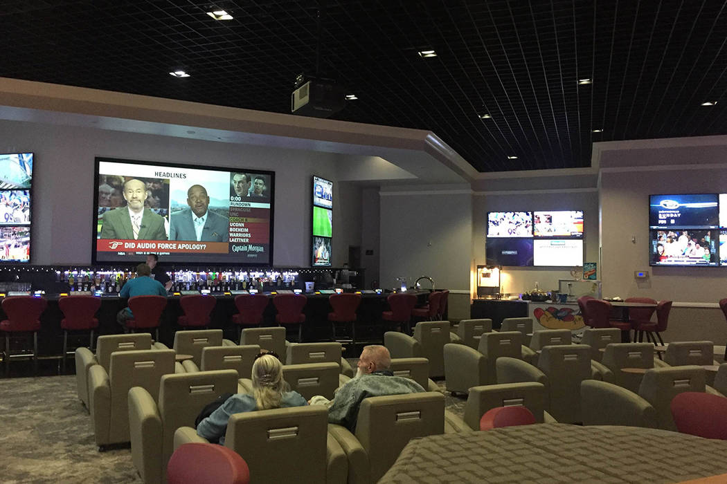 Pahrump Valley Times Betting on the Olympics was banned in 2001, but the ban was lifted before the 2016 Rio Summer Games. This photo shows the sports book at the Pahrump Nugget.