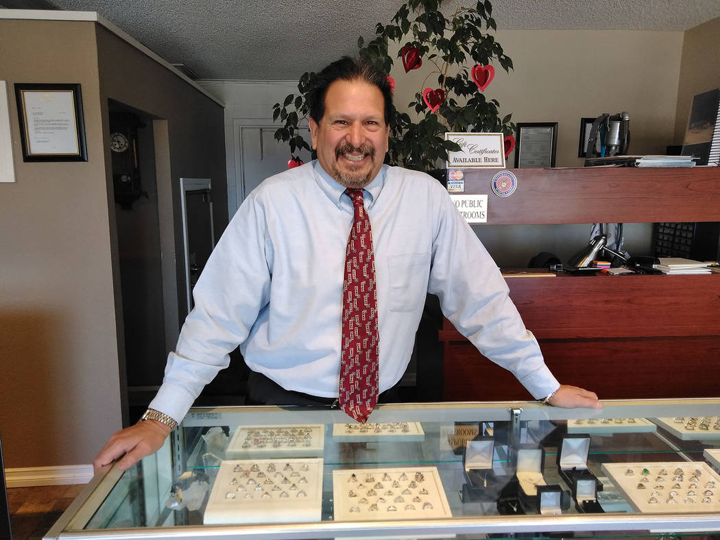 Selwyn Harris/Pahrump Valley Times  Jeweler Michael Alvarado, owner of Jewelry By Michael, believes you can't go wrong going with a diamond for Valentine's Day. Alvarado, who can create custom ...