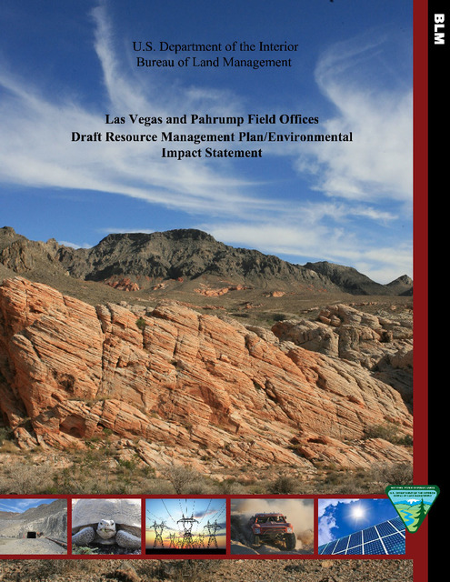 Special to the Pahrump Valley Times/file As shown in a 2016 image, the cover of the draft of Resource Management Plan by the U.S. Bureau of Land Management for the Pahrump area. The BLM has extend ...