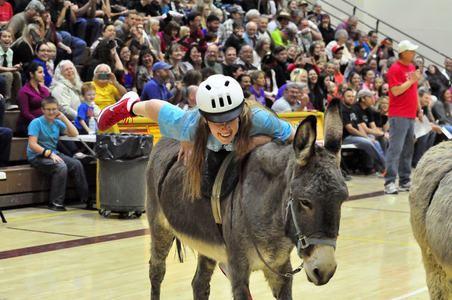 Horace Langford Jr./Pahrump Valley Times Donkey basketball is returning to Pahrump. Games are set to begin at 7 p.m. Friday, March 2, in the main gym at Pahrump Valley High School.