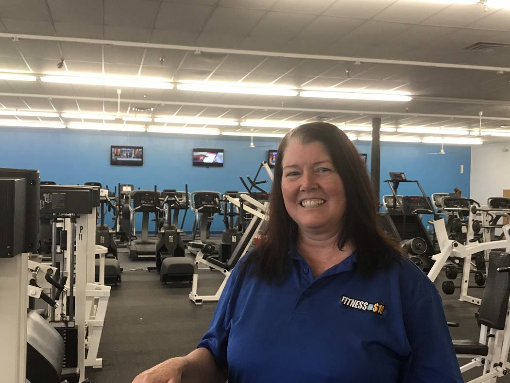 Jeffrey Meehan/Pahrump Valley Times Lisa Duncan, general manager of Fitness for $10 in Pahrump, stands at the club's location at 2271 E. Commercial Drive. Duncan said the health club offers its me ...