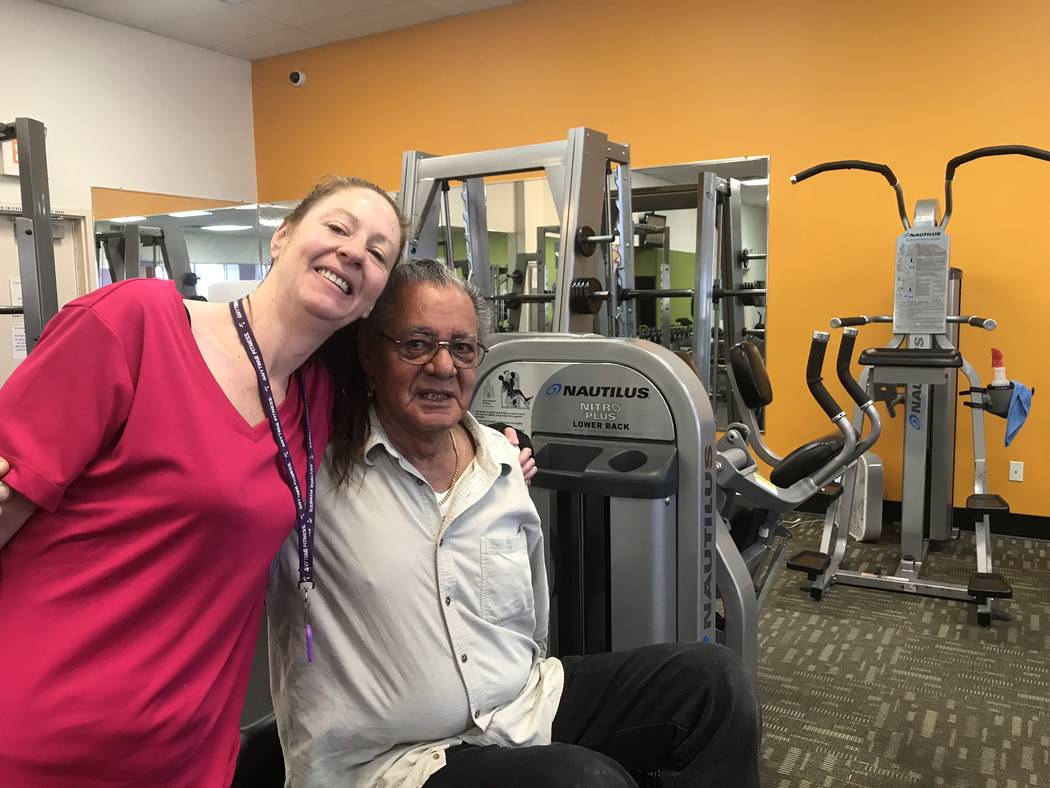 Jeffrey Meehan/Pahrump Valley Times Anytime Fitness health club members Bridget Farrelly (left) and Carlos Soto (right) stand at the club's Pahrump location at 70 S. Highway 160 on Jan. 31, 2018.  ...