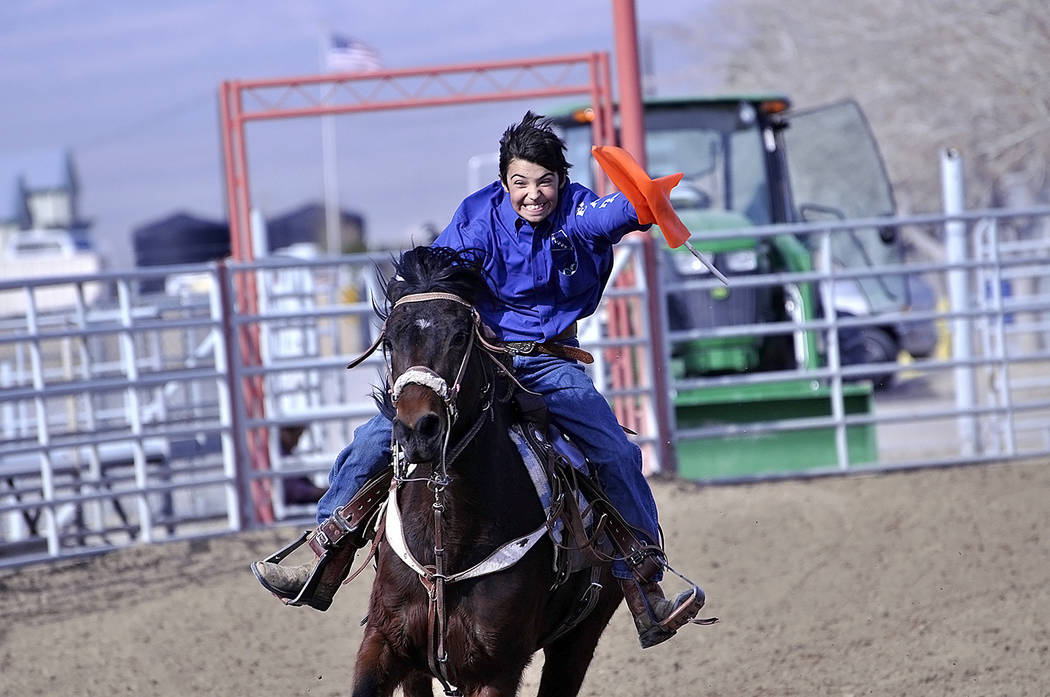Horace Langford Jr./Pahrump Valley Times -  On Feb. 10 at the Little Britches Wild West Rodeo Christopher LeClaire took part in the flag racing.