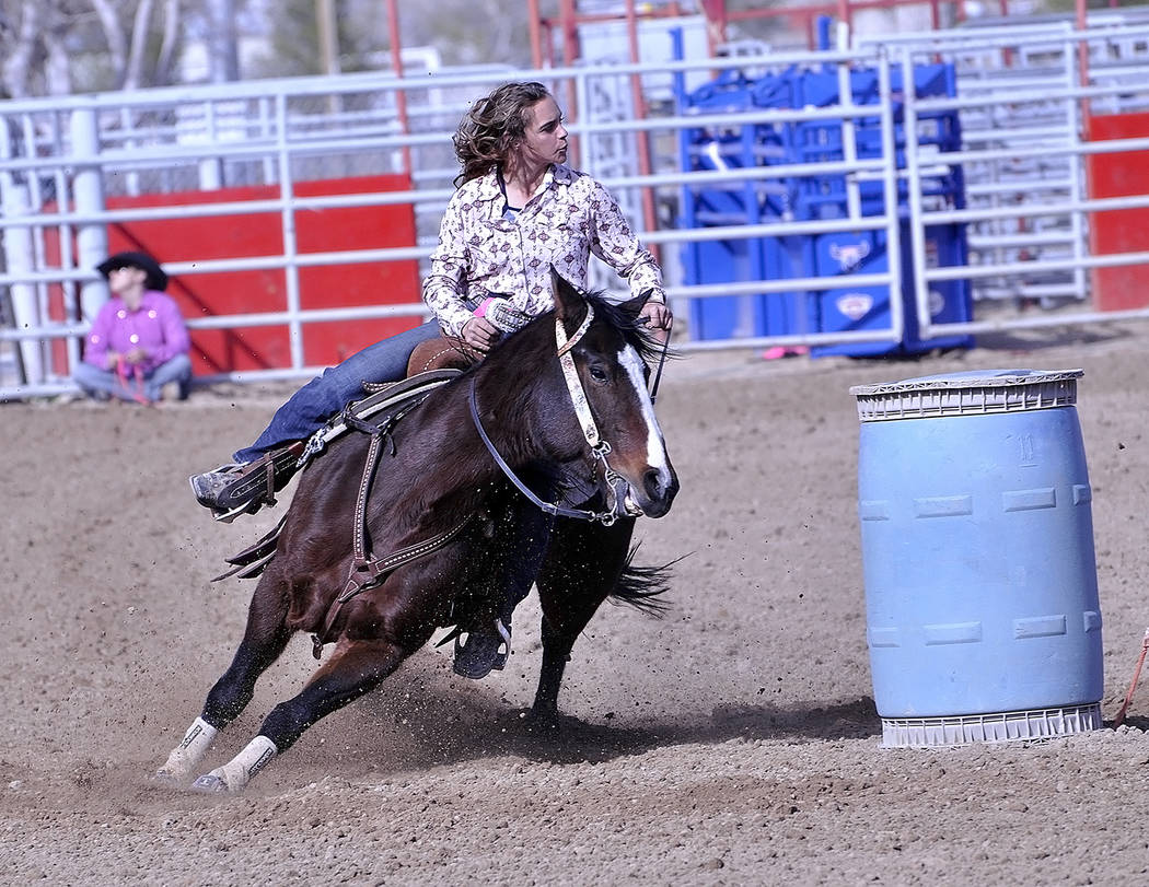 Horace Langford Jr./Pahrump Valley Times -  Korey Park demonstrates her finesse during the barrel racing as well.