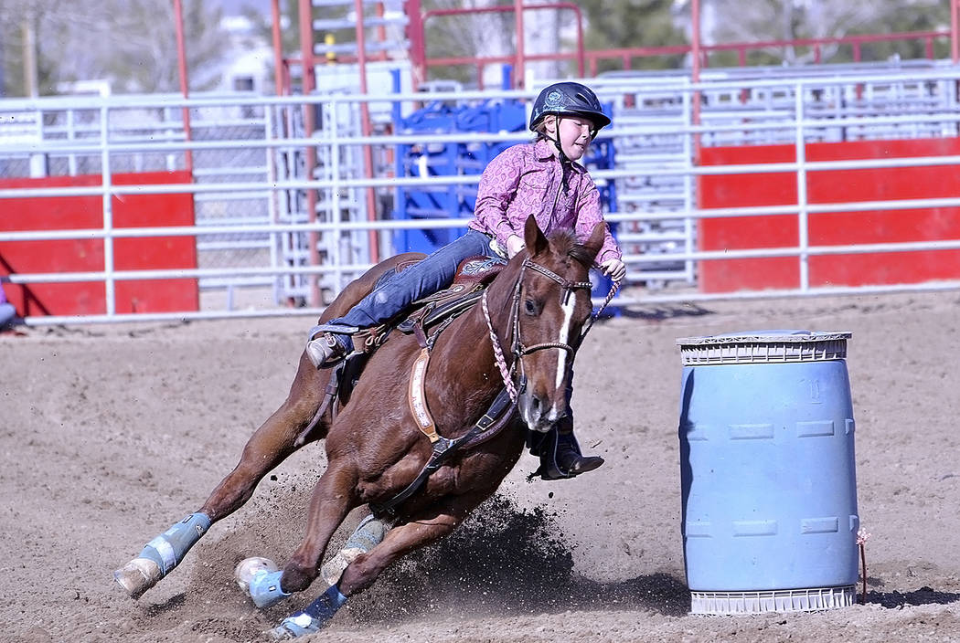 Horace Langford Jr./Pahrump Valley Times - Barrel racer Hadlie Olsen shows her stufff during the Saturday, Feb. 10 event.