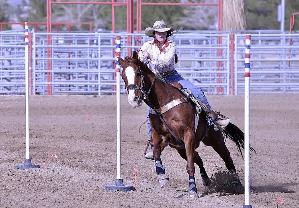 Horace Langford Jr./Pahrump Valley Times - Taylor Silva's talents were also on display in the pole bending event during the Little Britches Wild West Rodeo.