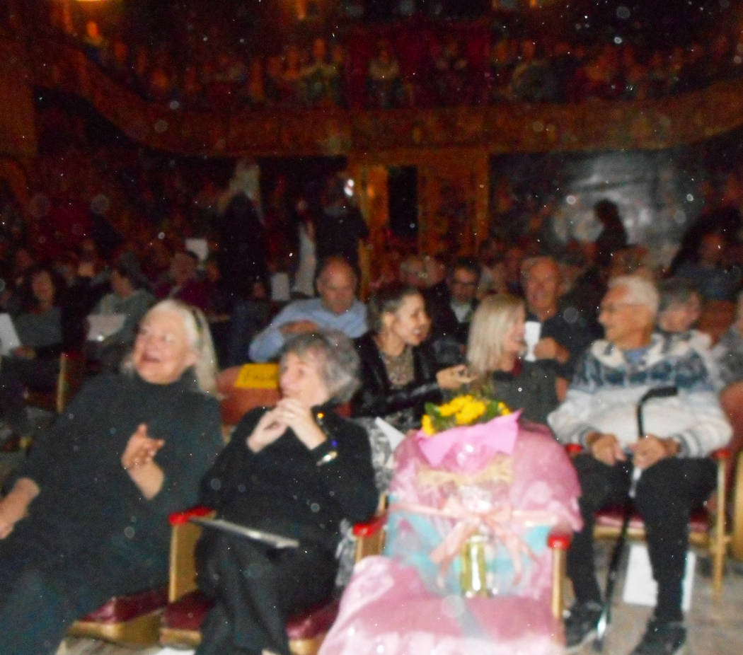 Robin Flinchum/Special to the Pahrump  Aina Balgavis and Myrna Galle Van Buren sit next the chair reserved for the memory of their long time friend, Marta Becket, waiting for the show to start. In ...