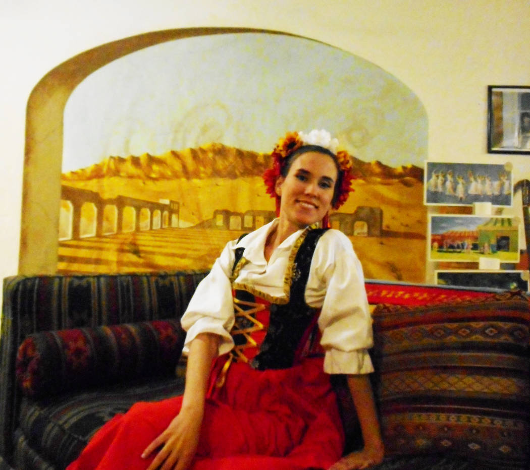 Robin Flinchum/Special to the Pahrump  Hilda Vazquez in the Slavonic Dance costume waiting for a champagne toast at the Amargosa Hotel earlier this month when the Amargosa Opera House celebrated i ...