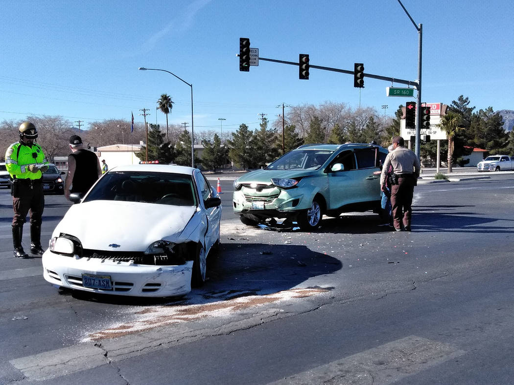 Special to the Pahrump Valley Times Though no serious injuries were reported, one person was transported to Desert View Hospital after a two-vehicle crash at Highway 160 and Basin Avenue on Thursd ...